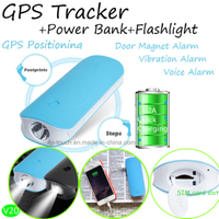 Power Bank Mini GPS Tracekr with Flashlight & Geo-Fence (V20)