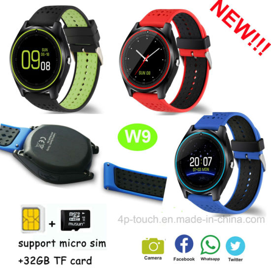 New Slim Design Smart Watch Phone with SIM Card Slot W9