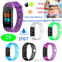 Fashionable Bluetooth Smart Bracelet with Heart Monitor (I9)