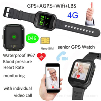 Adult Waterproof GPS Smart Tracker with Blood Pressure measurement D46