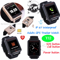 Adult Waterproof GPS Tracker Watch with Fitness Tracking Y12