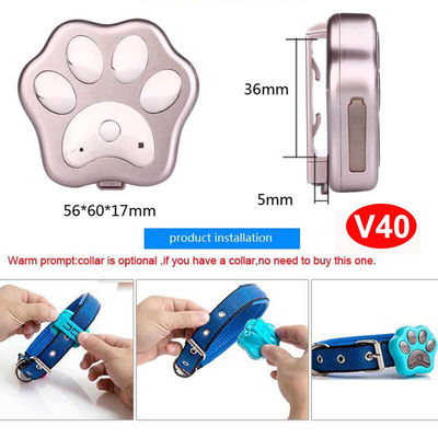 3G IP66 Waterproof Pet GPS Tracker with Geo-Fence Alarm (V40)