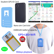 Two Colors Mini Multipurpose GPS Tracker ID Card for Students M13