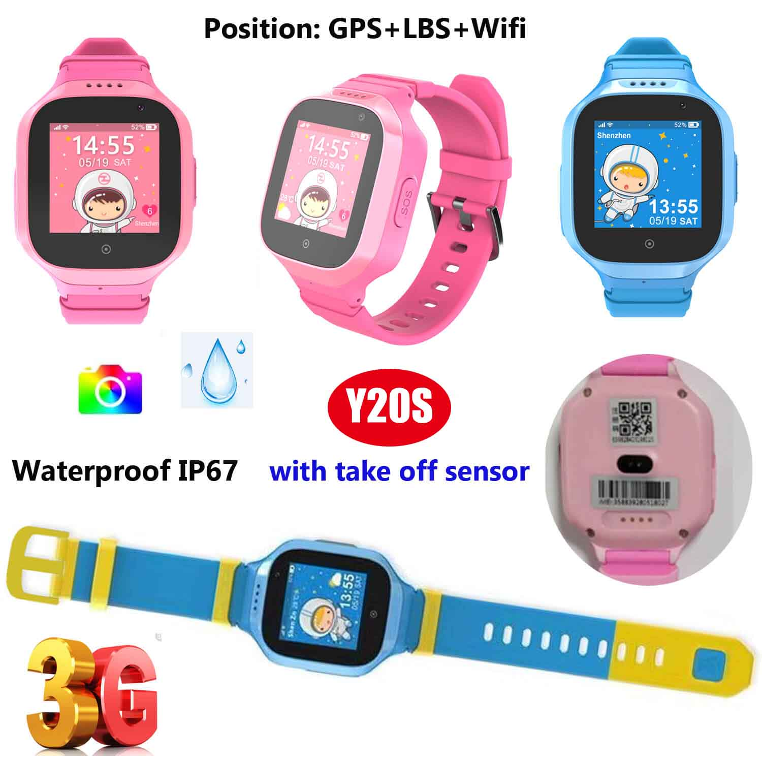 Waterproof IP67 Children GPS Smart Watch Tracker with Camera Y20s