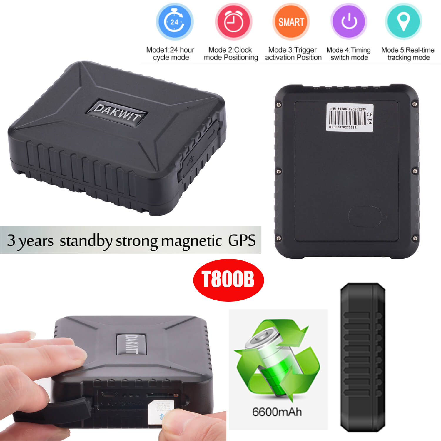 3 Year Standby Vehicle GPS Tracker with Strong Magnetic T800b