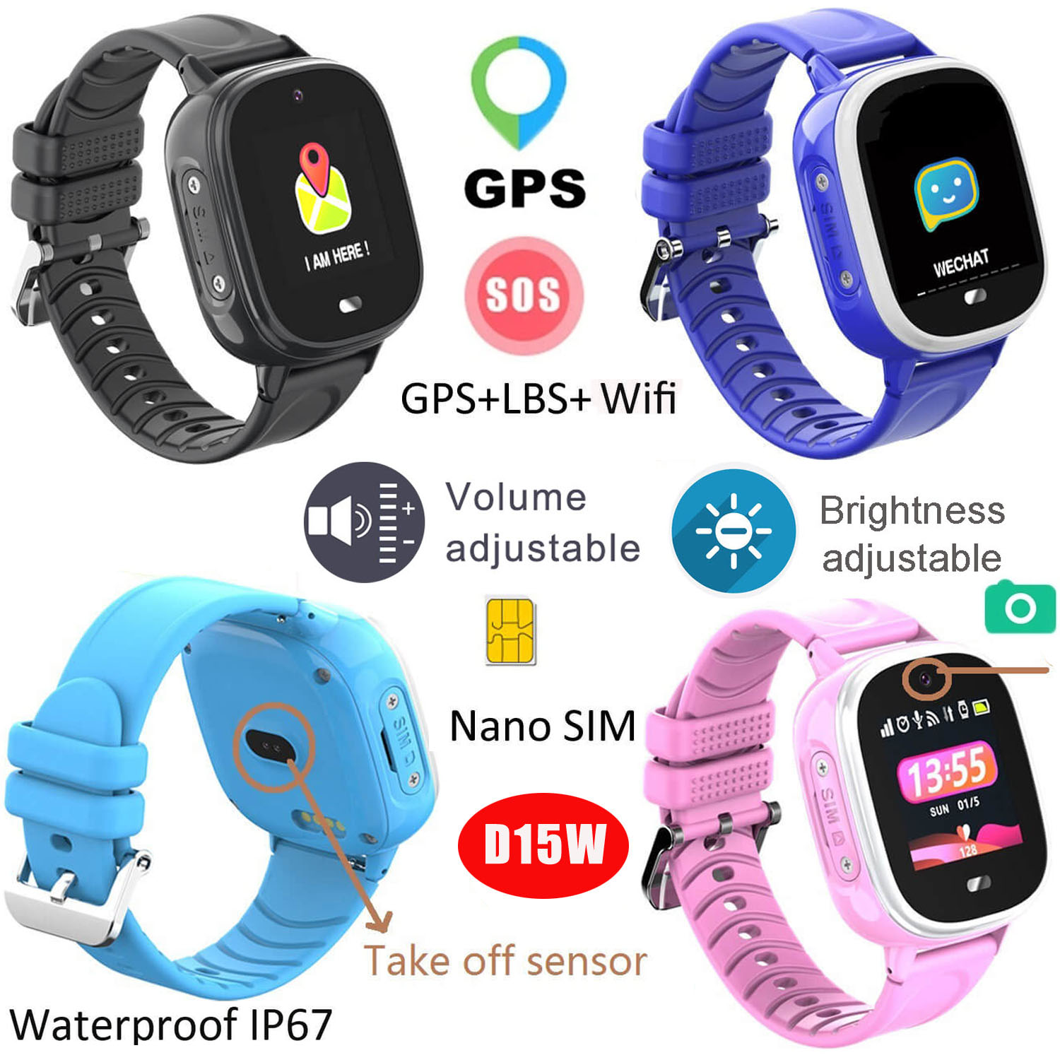 1.3inch IPS Touch Screen Kids GPS Smart Watch with Real-IP67 Waterproof D15W