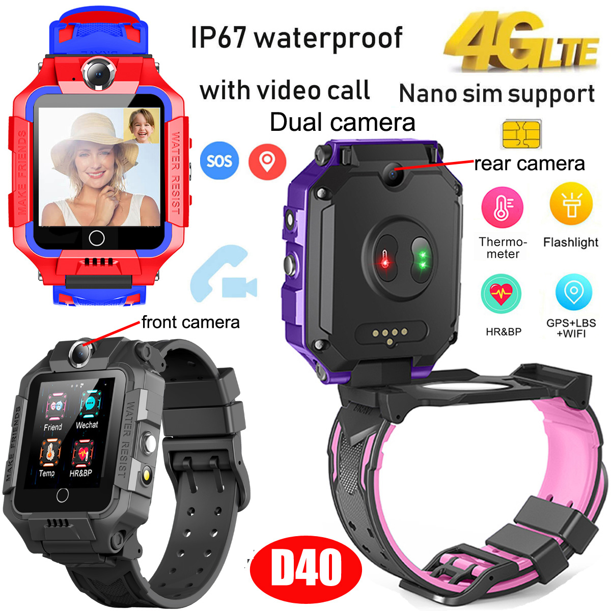 Thermometer 4G/Lte video Call GPS Tracker Watch with Heart Rate Blood Pressure D40