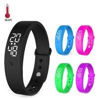 2020 Latest bracelet V9 automatically alarm remind Automatic body temperature measurement thermometer Smart wristband