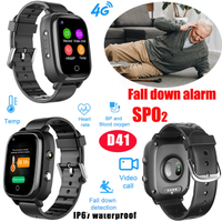 New 4G IP67 Senior GPS tracker watch with fall down detection HR & BPM and Blood Oxygen SPO2 and temperature monitoring